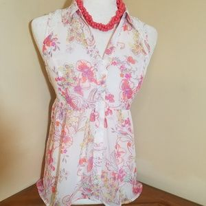 Candie's Lace Back Sleeveless Blouse Size M